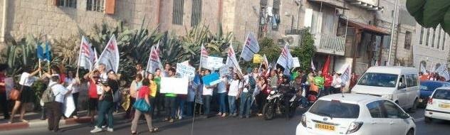 משתתפי השימוע צועדים בירושלים בדרכם לכנסת (תמונה: הקואליציה להעסקה ישירה)